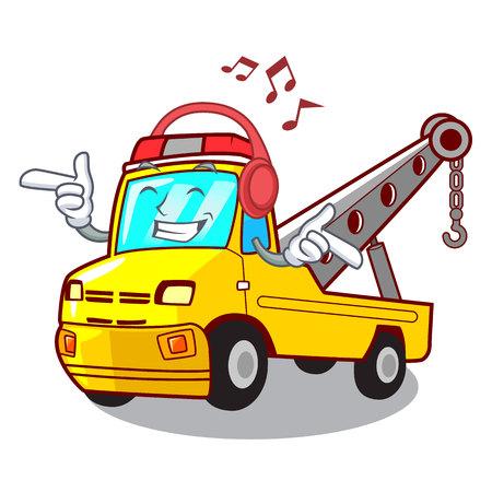 Listening music transportation on truck towing cartoon carvector illustration