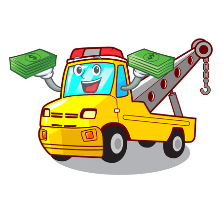 With money transportation on truck towing cartoon carvector illustration