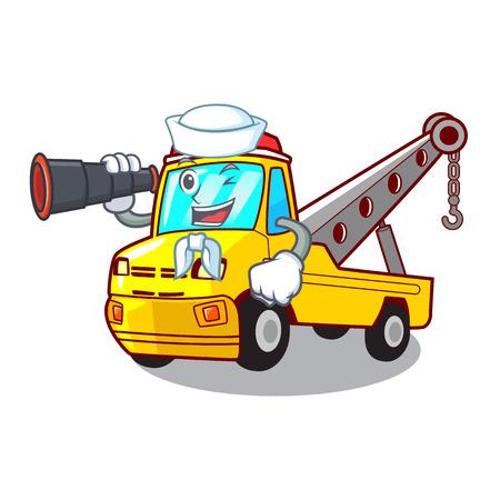 Sailor with binocular transportation on truck towing cartoon carvector illustration Illustration