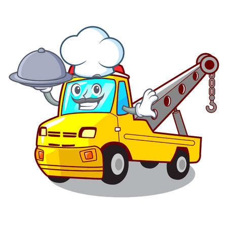 Chef with food transportation on truck towing cartoon carvector illustration Stock Vector - 127413300
