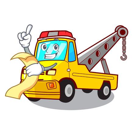 With menu transportation on truck towing cartoon carvector illustration Illustration
