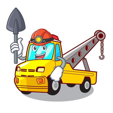 Miner transportation on truck towing cartoon carvector illustration