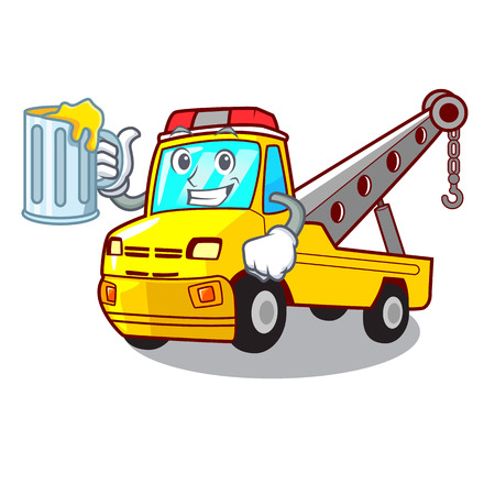 With juice transportation on truck towing cartoon carvector illustration Illustration