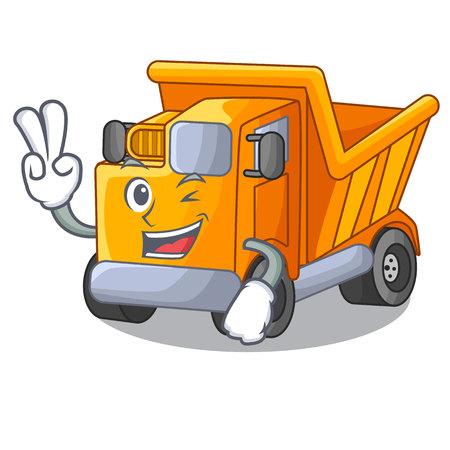 Two finger cartoon truck transportation on the road Standard-Bild - 112593171