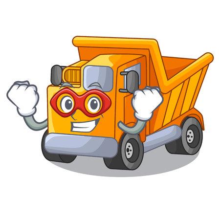 Super hero cartoon truck transportation on the road Standard-Bild - 112593174