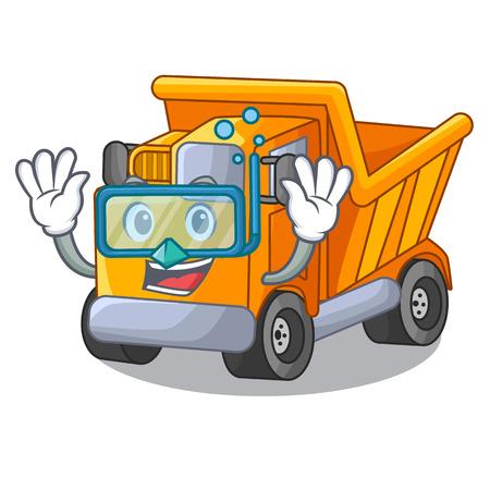 Diving cartoon truck transportation on the road Çizim