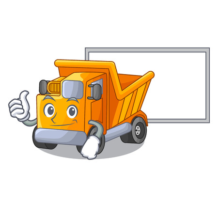 Thumbs up with board cartoon truck on the table learn
