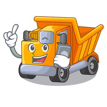 With phone cartoon truck on the table learn Standard-Bild - 112593204