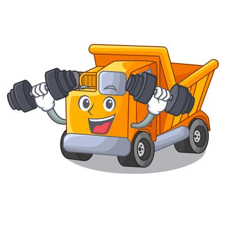Fitness cartoon truck on the table learn Vettoriali