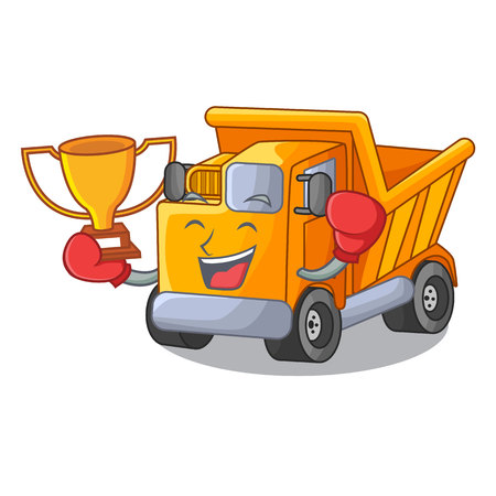 Boxing winner character truck dump on trash construction Standard-Bild - 112593220