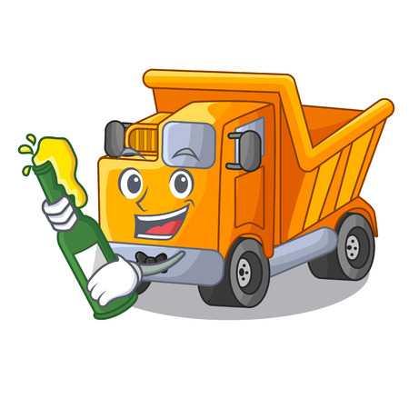 With beer character truck dump on trash construction Standard-Bild - 112593221