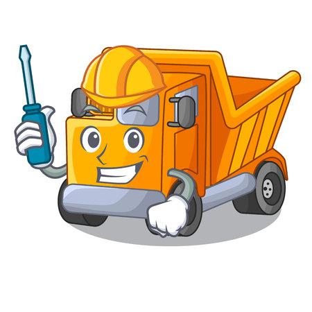 Automotive character truck dump on trash construction Standard-Bild - 112593228