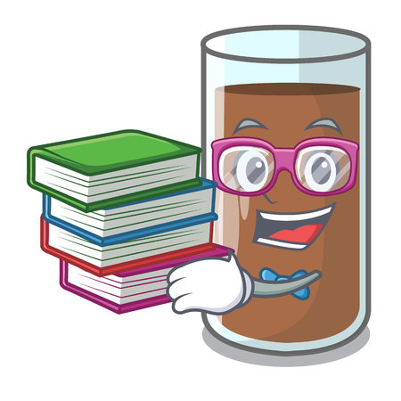 Student with book the delicious on chocolate milk cartoon vector illustration