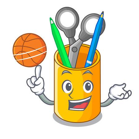 Con vista superior del escritorio del organizador de baloncesto con dibujos animados