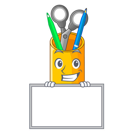 Grinning with board organizer desktop top view with cartoon Illustration