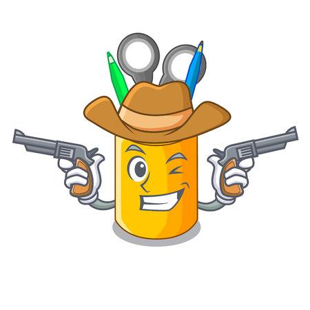 Cowboy organizer desktop top view with cartoon