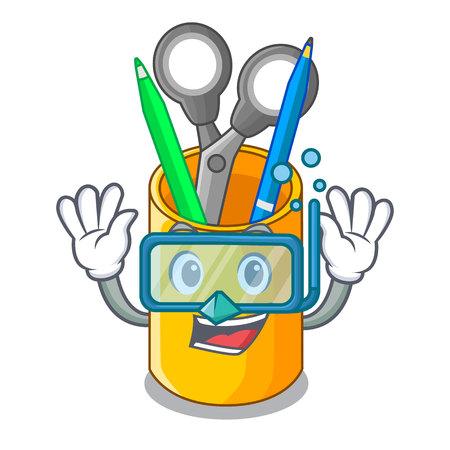 Diving school organizer desktop composition on character vector illustration