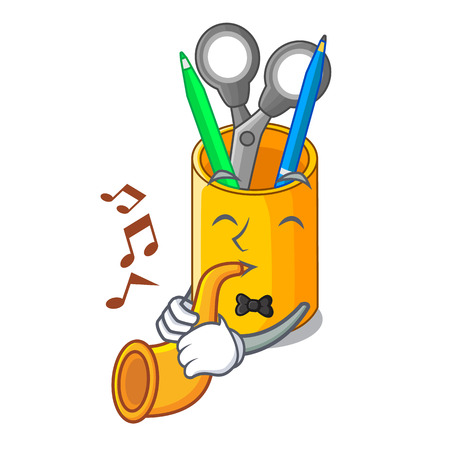 With trumpet desktop organizer shape on cartoon funny vector illustration
