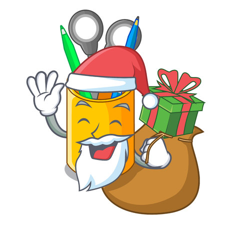Santa with gift isometric supplies desktop on organizer mascot vector illustration Illustration