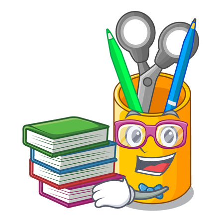 Student with book isometric supplies desktop on organizer mascot vector illustration