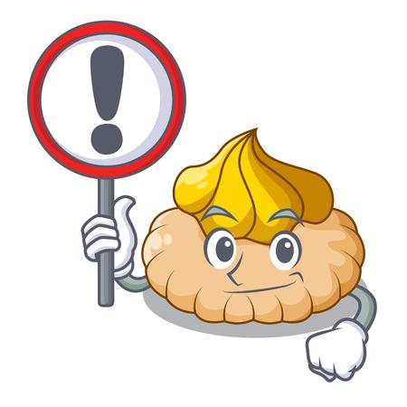 With sign vanilla ice cream biscuit on cartoon vector illustration