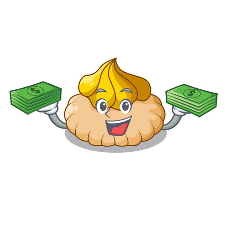 With money chocolate biscuit with mascot ice cream vector illustration
