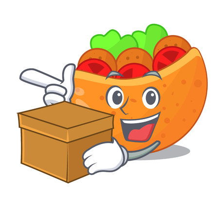 With box pita bread sandwiches with grilled character vector illustration 向量圖像