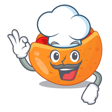 Chef pita bread sandwiches with grilled character vector illustration