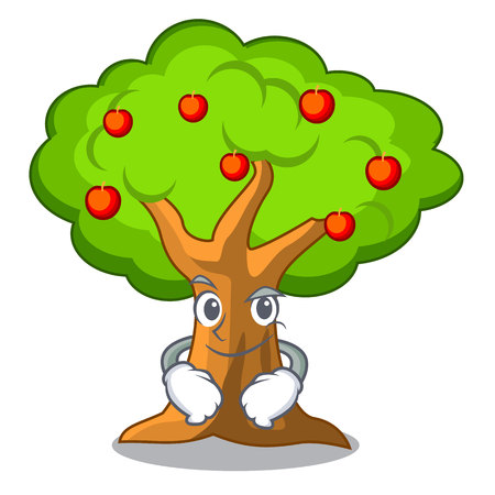 Smirking apple tree full of isolated mascot vector illustration