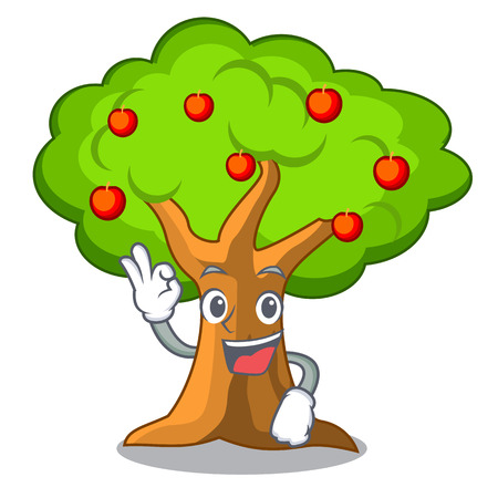 Okay apple tree full of isolated mascot vector illustration