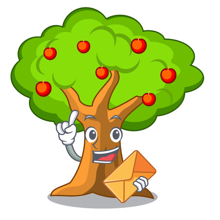 With envelope apple tree full of isolated mascot vector illustration 일러스트