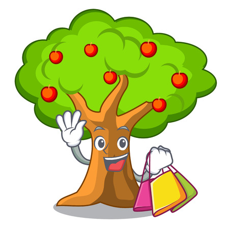 Shopping apple tree full of isolated mascot vector illustration