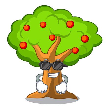 Super cool apple tree full of isolated mascot vector illustration Illustration