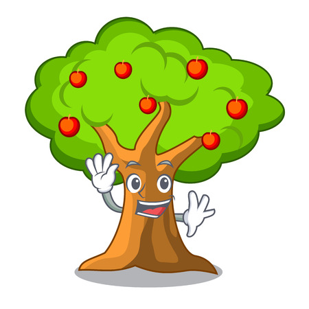 Waving apple tree full of isolated mascot vector illustration Illustration