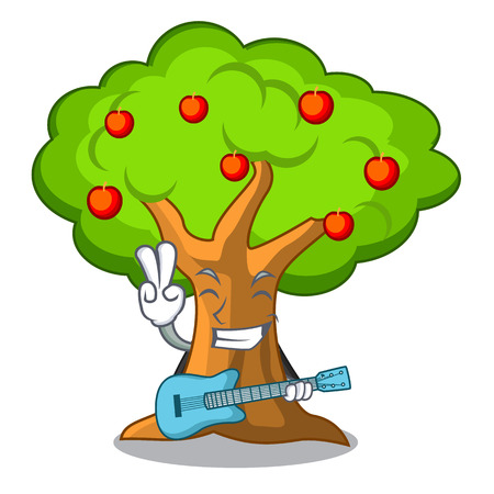 With guitar apples on tree branch the character vector illustration Stock Illustratie