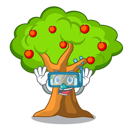 Diving apple tree full of isolated mascot vector illustration Çizim