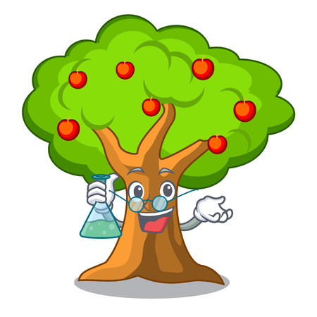 Professor apple tree full of isolated mascot vector illustration Vettoriali