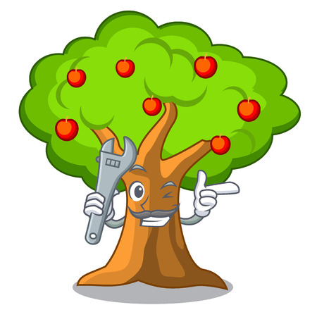Mechanic apple tree in agriculture the cartoon vector illustration