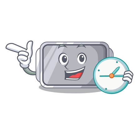 With clock baking pan shape on the cartoon vector illustration