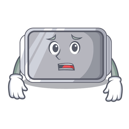 Afraid empty baking tray close with character vector illstartion
