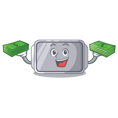 With money empty baking tray close with character vector illstartion
