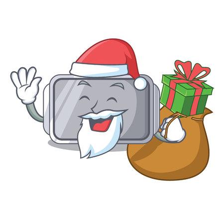 Santa with gift Narrow baking tray with layer cartoon vector illustration Vektoros illusztráció