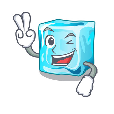 Two finger ice cubes wiht mascot on above vector illustration