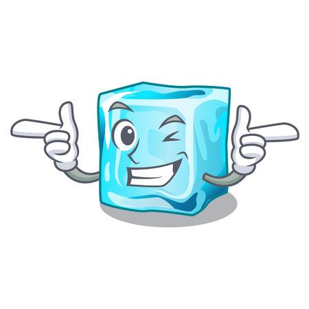 Wink ice cubes wiht mascot on above vector illustration 矢量图像