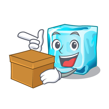 With box ice cubes wiht mascot on above vector illustration