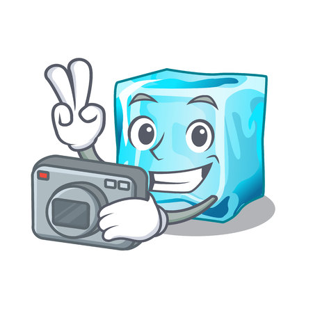 Photographer Ice cubes set on wiht character vector illustration