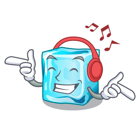 Listening music Ice cubes set on wiht character vector illustration