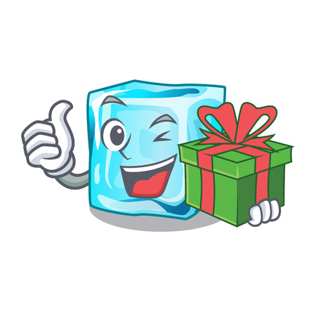 With gift Ice cubes set on wiht character vector illustration Ilustracja