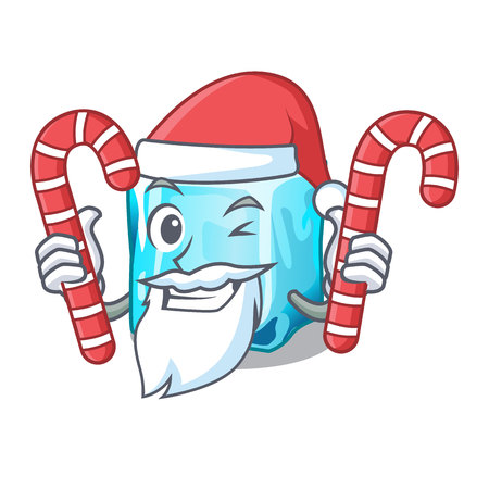 Santa with candy ice cubes on the cartoon funny vector illustration