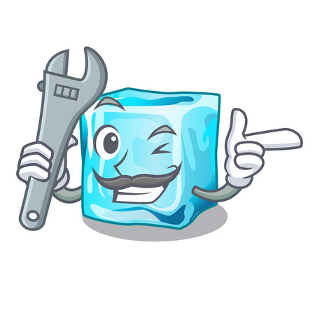 Mechanic ice cubes on the cartoon funny vector illustration Vectores